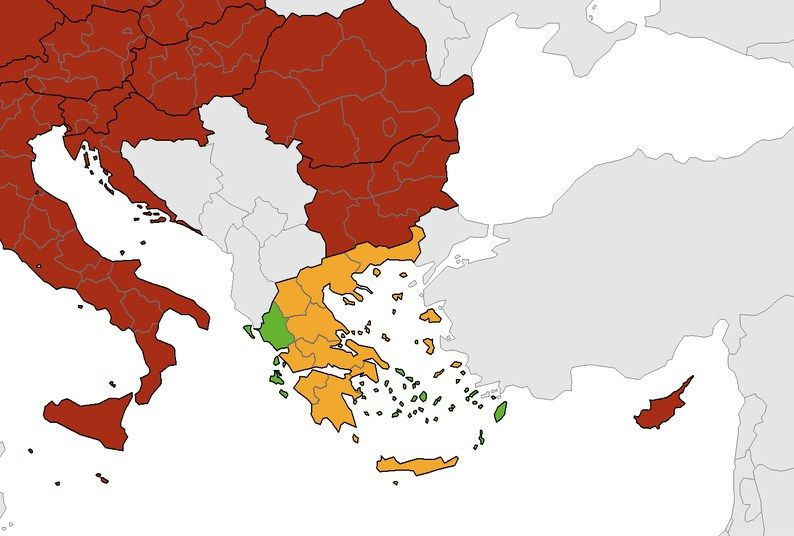 Ionian Islands and Epirus in green band (lowest positivity rate) on ECDC European map