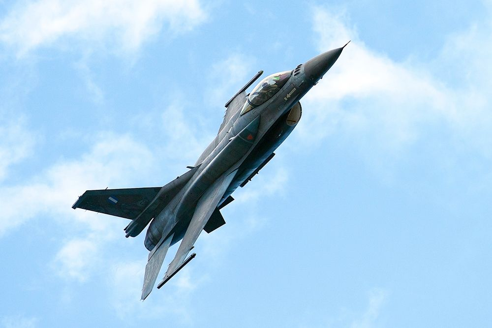 Four F-16s fly over Corfu on Thursday morning