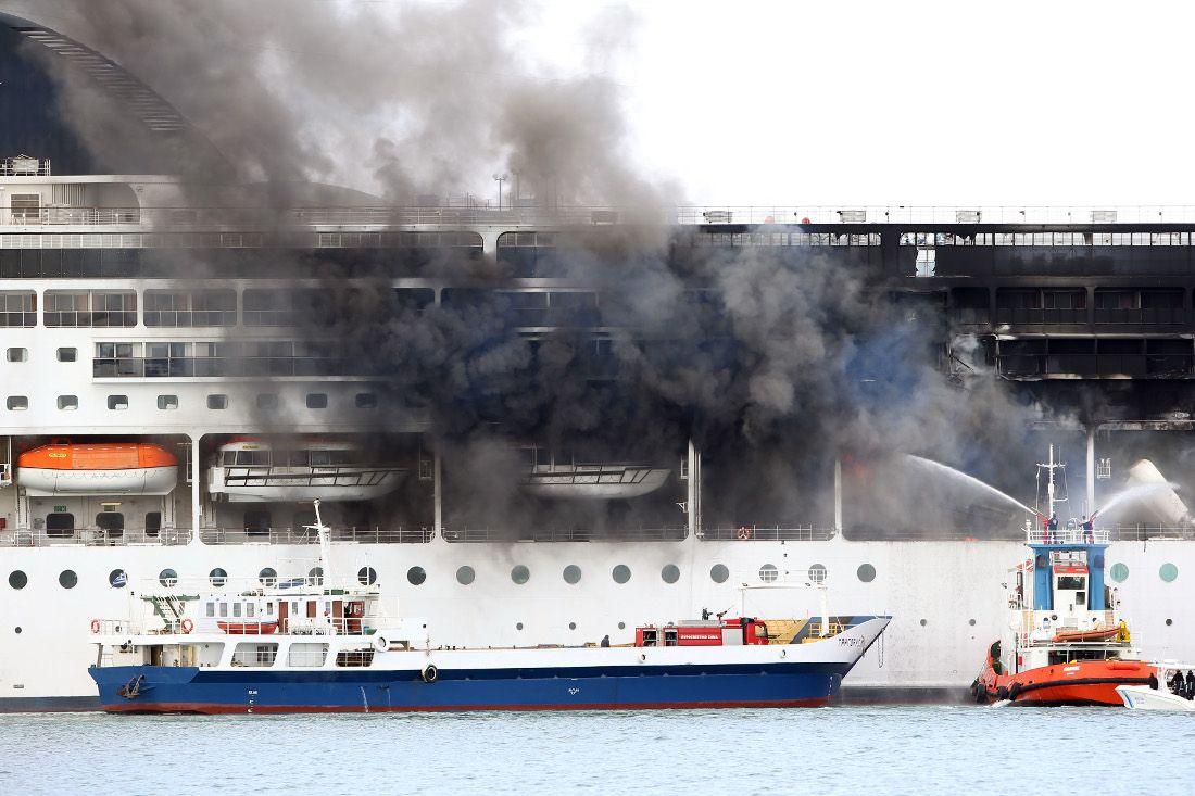 Firefighters fought hard to prevent fire from spreading inside the ship - and succeeded!