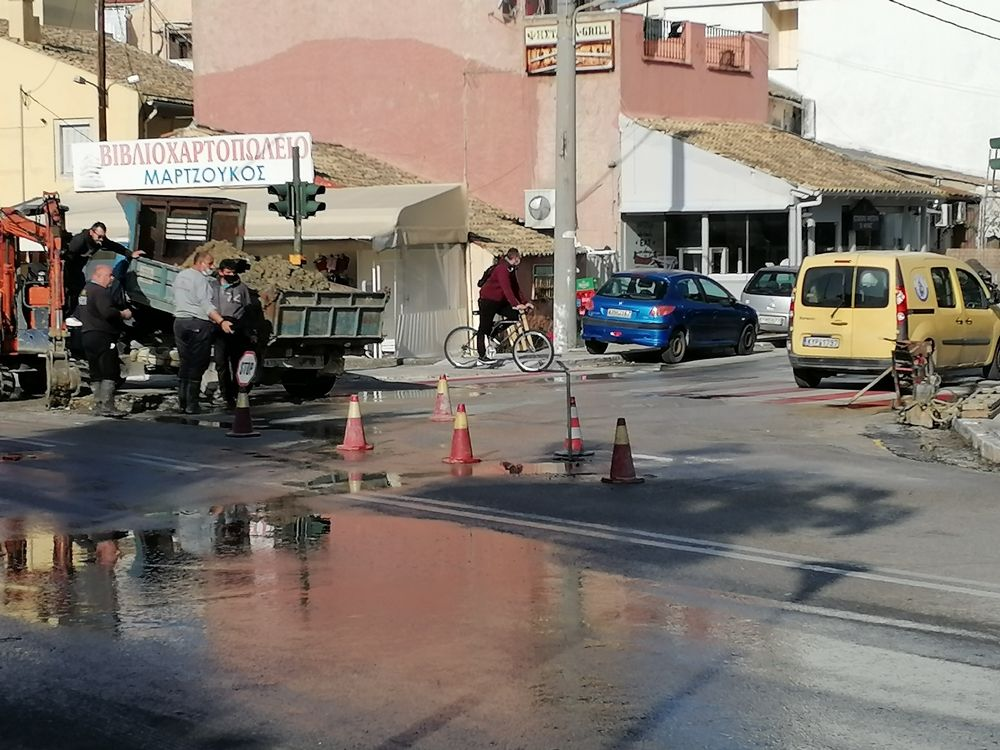 Damage to water main in Garitsa